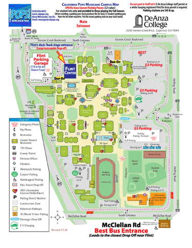 Flint Center De Anza College Map for Musicians